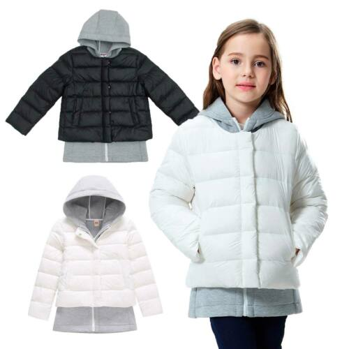 Girls Two Piece Outfit Set Winter Warm Down Puffer Jacket /& Hoody Black White