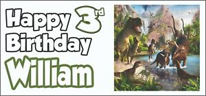 Dinosaur-3rd-Birthday-Banner-x-2-Party-Decorations-Boys-Son-Girls-Kids-ANY-NAME