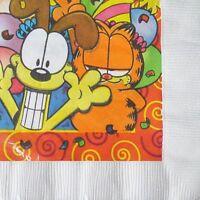 Garfield & Odie Small Napkins (16) Rare Vintage Birthday Party Supplies Cake