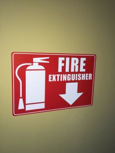 Wall Warning Sign Vinyl Sticker Decal 2 Pack Fire Extinguisher Arrow Down