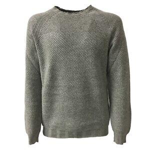 outlet store sale 47785 22705 Dettagli su ALPHA STUDIO maglia uomo girocollo grigio lana/cashmere slim  mod AU-6501C
