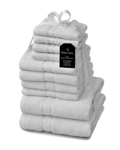 Pack De 10 Luxe Serviette Bale Set 100/% Coton Égyptien salle de bains Main Visage Serviettes