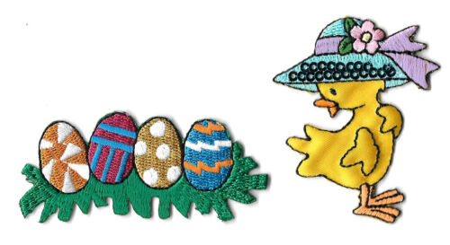 Easter Eggs Easter Embroidered Iron On Applique Patch Chick 2PC Bonnet