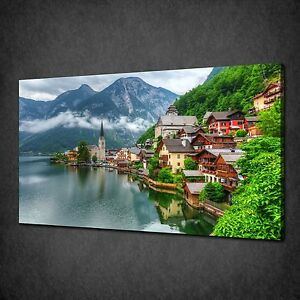 VILLAGE IN AUSTRIA ALPS MOUNTAINS CANVAS WALL ART PRINT PICTURE READY TO HANG