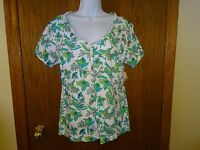 Women's Northcrest White Green Blue Shirt Size Xl Short Sleeves