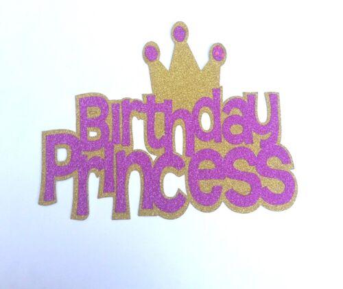 Princess Crown  Pink /& Gold Glitter Cake Topper Non Edible Non Shed