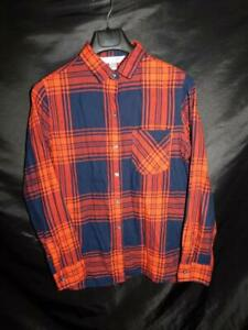 Old-Navy-L-Red-Blue-Plaid-Flannel-Classic-Shirt-Woman-Long-Sleeve-Button-Lg