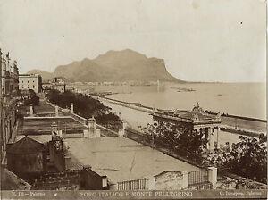 Italia-Palermo-Foro-Italico-Monte-Pelegrino-Incorporato-Vintage-Albumina-Ca-1875
