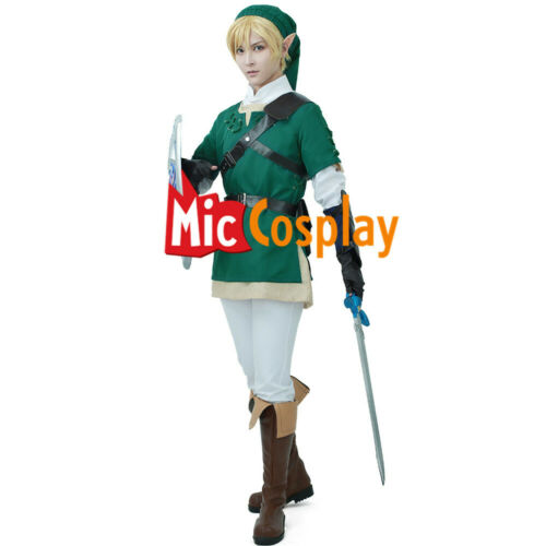The Legend of Zelda Twilight Princess Link Cosplay Men Green Costume Outfit