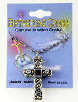 6030129 Christian Cross Necklace Two Tone Silver Gold Birthstone Austrian Cry... on sale