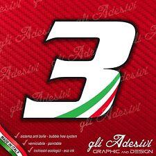Adesivo Stickers NUMERO 3 moto auto cross gara Bianco & Tricolore 5 cm