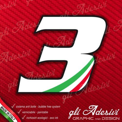 Adesivo Stickers NUMERO 3 moto auto cross gara Bianco /& Tricolore 15 cm