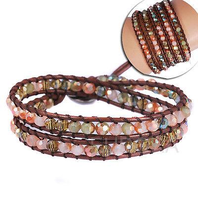 Gemstone crystal beaded bracelets on real leather wrap cuff women men bracelets