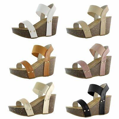 DailyShoes Chunky Slip On Wedge Heels High Wedges Sandal Platform High Heel Shoe