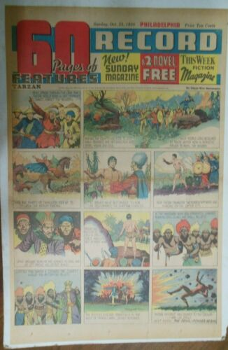 Tarzan Sunday Page #398 Burne Hogarth from 10//23//1938 Very Rare Full Page Size