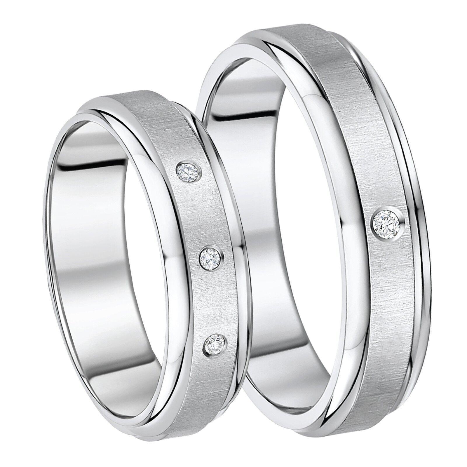 His & Hers Solid Titanium Diamond Engagement Wedding Rings 5mm & 7mm
