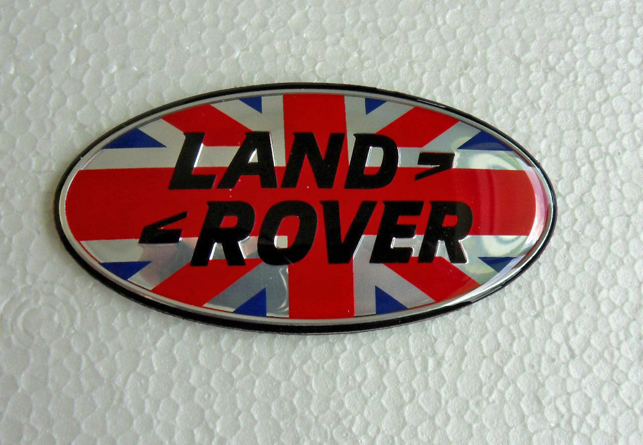 UNION JACK 3D GB CHROME CAR BADGE LAND ROVER DEFENDER DISCOVERY SELF ADHESIVE