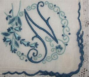 N-Initial-Monogrammed-Hankie-Vintage-Madeira-Linen-Gorgeous-Navy-Blue-2-Tone