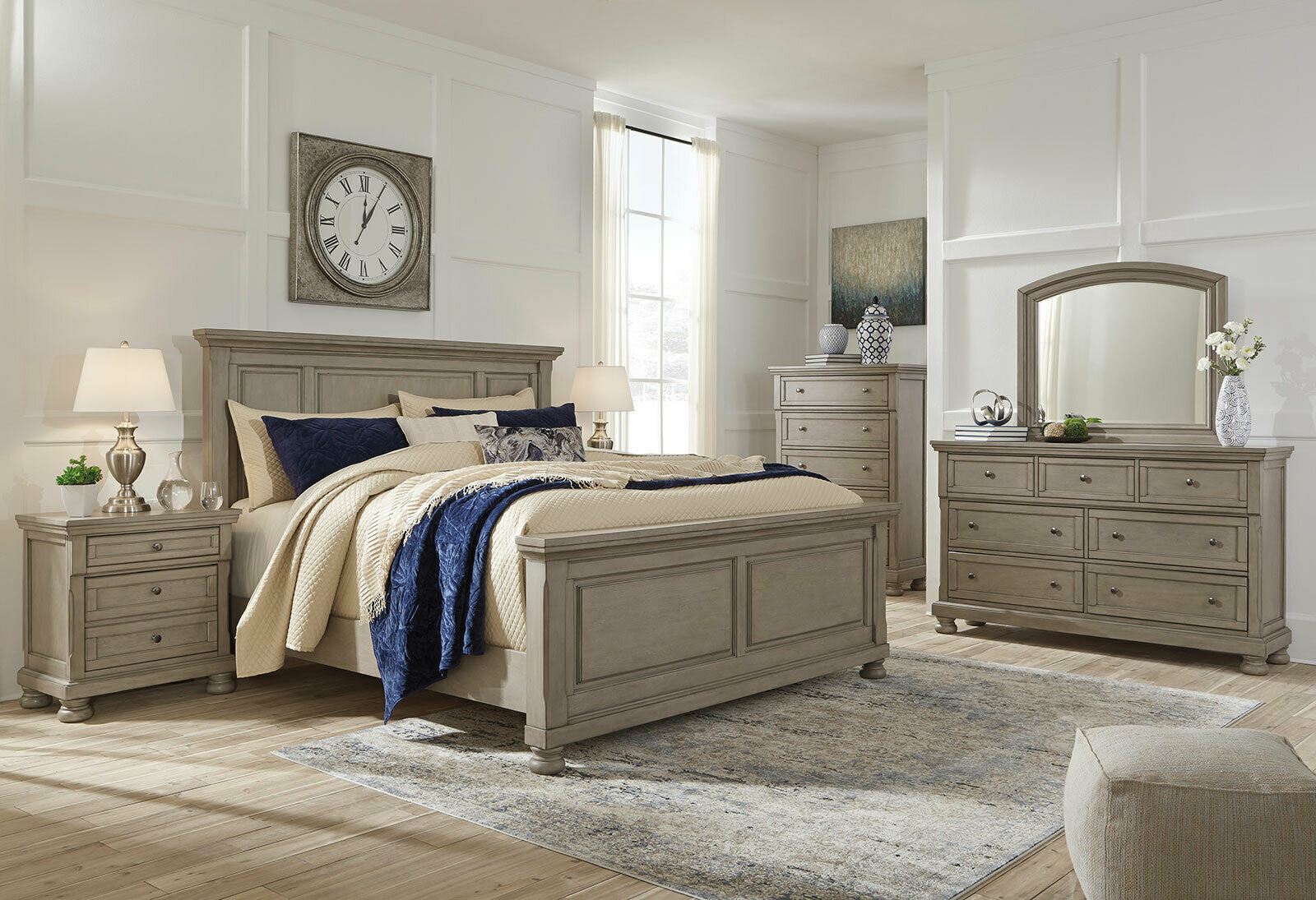 NEW Traditional Light Gray Solid Wood Bedroom Furniture - 8pcs King Bed Set  IA8Q