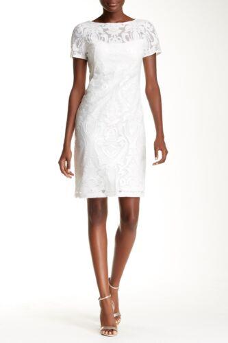 mouwen White 2320 Wong korte Sue mesh jurk Nwt Sequin geborduurde maat L3ARjc54q