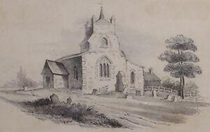 C1890 Original Kunstwerk Zeichnung Sketch - ohne Vorzeichen - Kirche