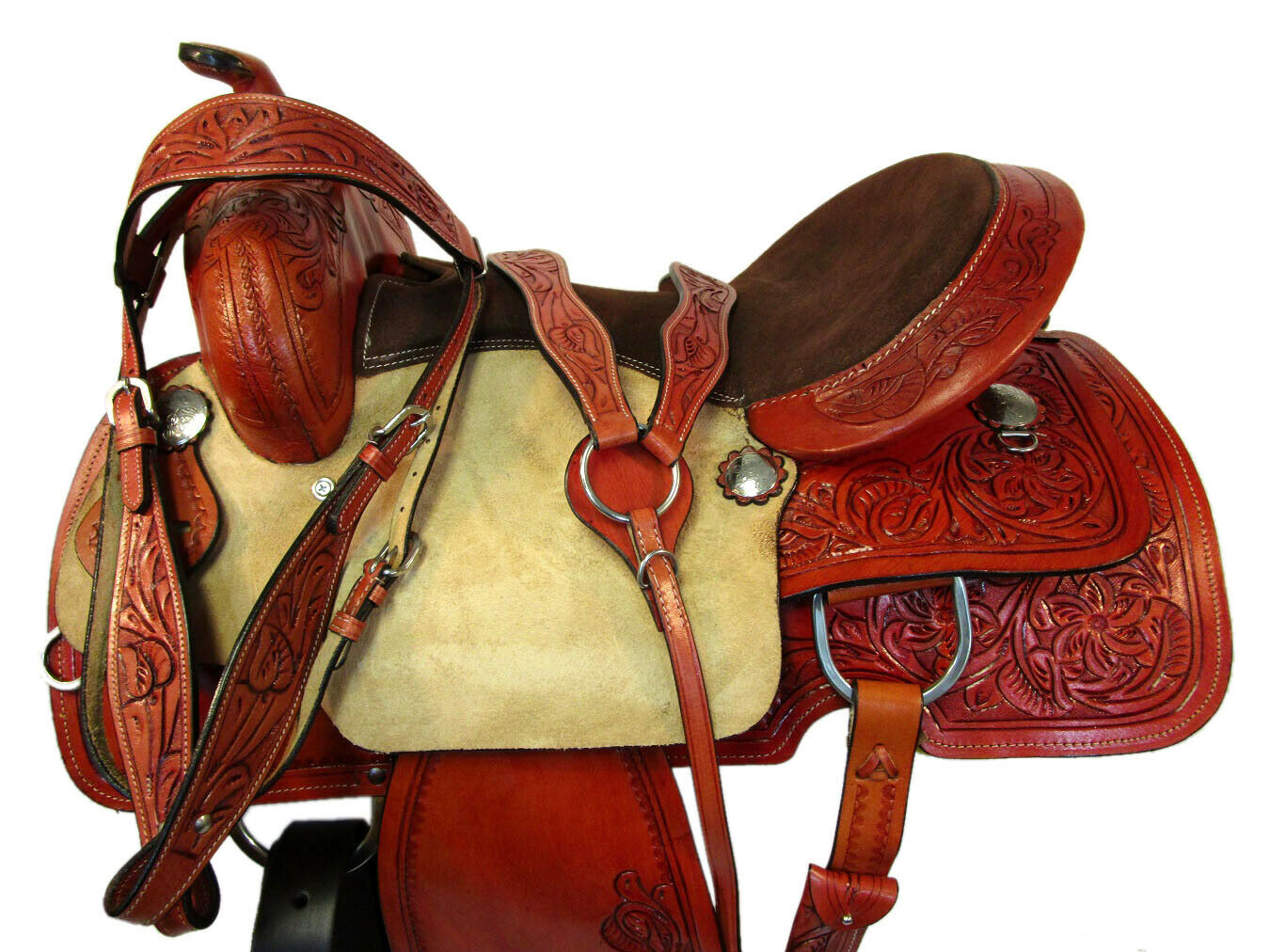 PRO WESTERN barrel RACING HORSE SADDLE 15 16 piacere Racer strumentoED IN PELLE Tack