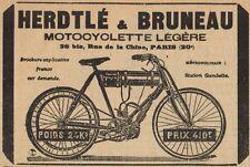 Y8176 Herdtlè & Bruneau - Motocyclette légère - Pubblicità d'epoca - 1905 Old ad