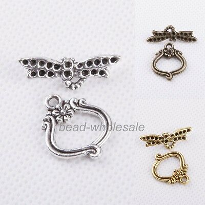 Wholesale 20sets Tibetan silver Flower Dragonfly Toggle Clasp Necklace Making
