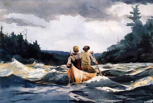 Art-Oil-painting-impressionism-seascape-canoe-in-the-rapids-amp-waves-canvas-36-034