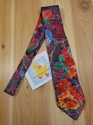 "Mens Neck Tie 58"" L Multi Color Floral Paisley Print Polyester Sabatini USA"