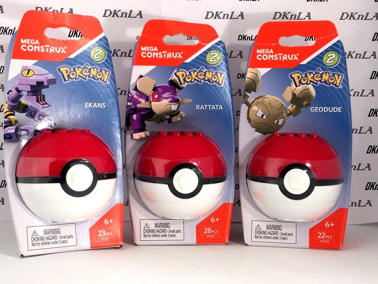 Lot of of of 3 - Mega Construx Pokemon Pokeball Series 2 - Ekans, Rattata & Geodude 93a2a4