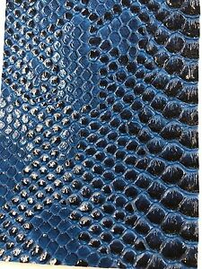 Vinyl Fabric R Blue Faux Viper Snake Skin Leather Upholstery 3d