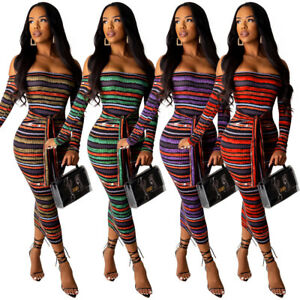 Stylish-Women-Off-Shoulder-Long-Sleeves-Colorful-Stripes-Tie-Front-Bodycon-Dress