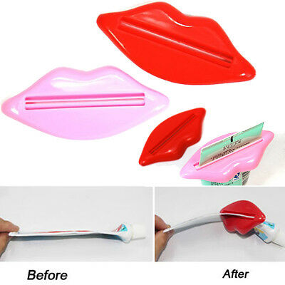 2 x Daily Sexy Lip Kiss Press Tube Dispenser Squeezer Toothpaste Gadget Bathroom