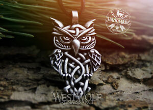 Viking-or-Celtic-Wise-Owl-Pendant-Silver-or-Bronze-Norse-Knot-Bird-of-Wisdom