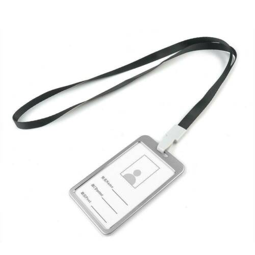PU Leather ID Badge Card Holder Vertical Clip Neck Strap Lanyard Necklace Case