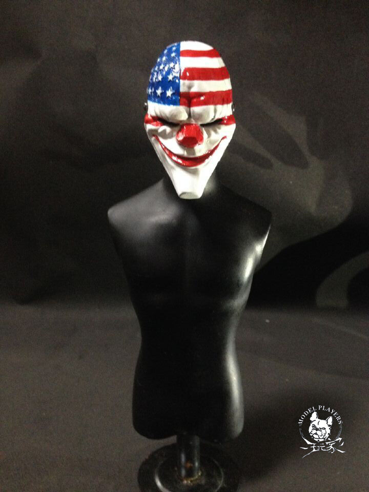 1 6 Scale Dallas the Joker Clown Heist USA Flag Mask For 12  Action Figure Toys