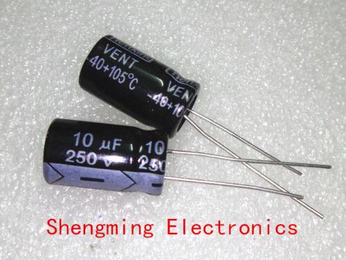 20pcs 10uF 250V 105°C Electrolytic Capacitor 10x13mm