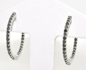 14K-White-Gold-1-2ct-Black-Diamond-Oval-Hoop-Earrings