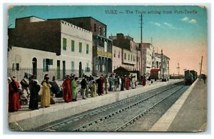 Picture-Postcard-Suez-The-Train-arriving-from-Port-Tewfik-Egypt