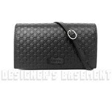 8048676d3870 GUCCI black MICRO GUCCISSIMA embossed wallet with strap MINI bag NIB  Authentic!