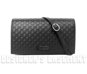 821ca331ac9 Image is loading GUCCI-black-MICRO-GUCCISSIMA-embossed-wallet-with-strap-