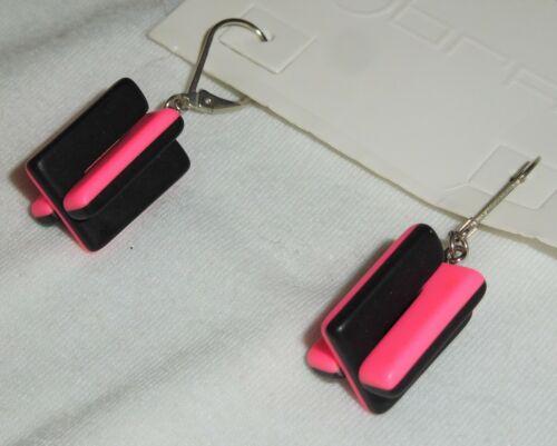 Sobral LED Luke Matte Black and Hot Pink Crossed Dangle Earrings Brazil Import