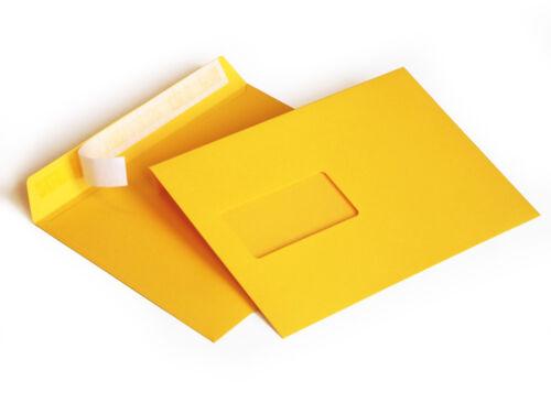 DIN C5 162 x 229mm 120g//m² haftkl. Briefumschläge mit Fenster 304AF gelb