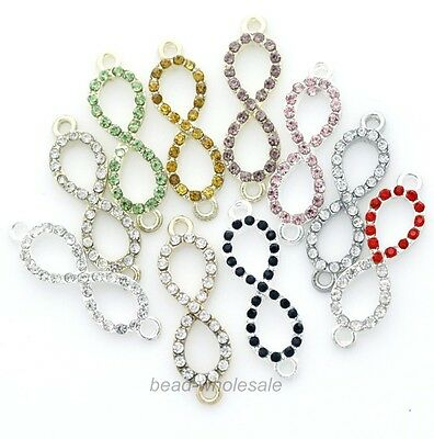 10pcs Lot New Charms Crystal Rhinestone Paved Infinity Symbol Connectors 33x10mm