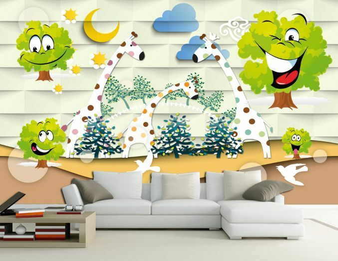 3D Girafe Farbe 2 Photo Papier Peint en Autocollant Murale Plafond Chambre Art