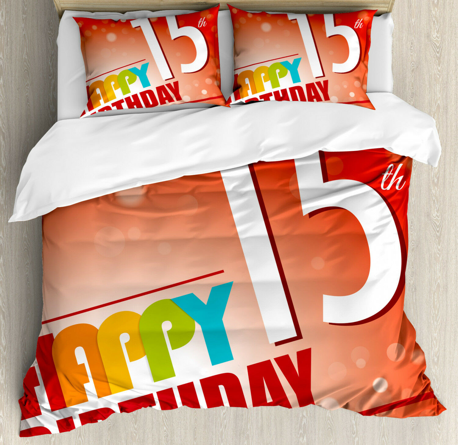 Red Duvet Cover Set with Pillow Shams 15th Birthday Concept Print