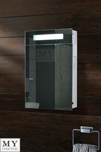 Image Is Loading ILLUMINATED BATHROOM MIRROR CABINET SHAVER SOCKET SENSOR DEMISTER