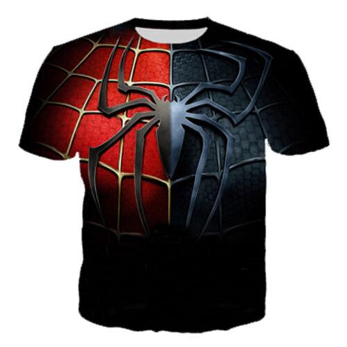New Women Men Casual 3D T-Shirt Funny Spider Comic Print Short Sleeve Tee
