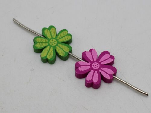 Craft DIY Mixed Bright Color Cute Wood Charm Beads Wooden Various Shape Flower